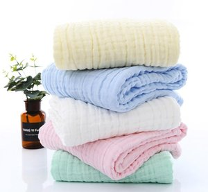 Drop Shipping 6 layer 110*110cm Cotton Gauze Scarf Baby Bath Towels Newborn Baby Swaddling Towel Breathable Blanket for