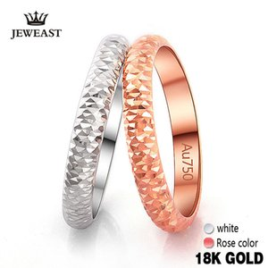 18k Pure Gold Ring Rose White Unisex Men Women Lover Wedding Engagement Fine Jewelry Girl Miss Gift 2020 Hot Sale drop shipping Z1117
