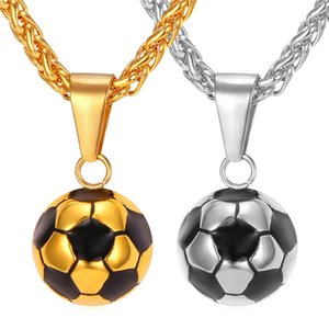 Kpop Football Pendant Sport Jewelry Stainless Steel Gold Color Enamel Soccer Ball Chain Charm Necklace for Men P136 F1202
