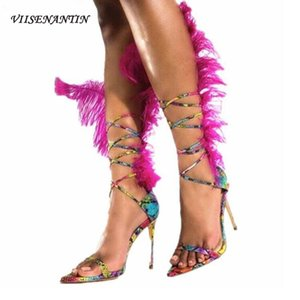 VIISENANTIN HEISSE ROSA Feder Dame Sexy Sandalen Schuh Knöchel Strappy Snake Haut Leder Spitz Zehen Sandalia Feminina Runway Shoe