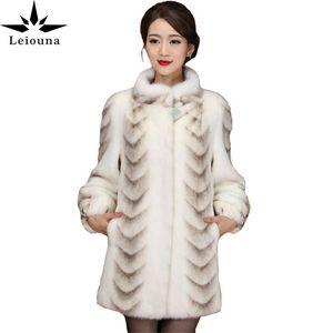Leiouna 4XL Plus Size Office Lady Quality Coat Women 2020 New Winter Full Sleeve Thicken Warm Long Genuine Fur Coats