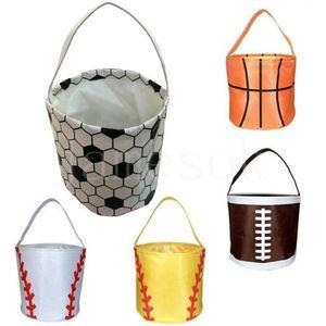 Basketball-Ostern Korb Sport Leinwand Totes Fußball Baseball Fußball Softball-Eimer Aufbewahrungstasche Kinder Candy Handtasche DB420