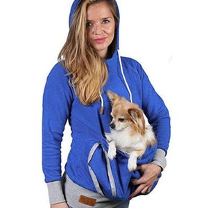 Vêtements de solides Sweats à capuche T-Shirt Femme Kangourou Pet Dog coton popeline poches solides hoodies Casual pour les filles sweat-shirt