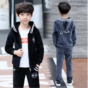 Boy spring and autumn sportswear Sets new 89 boys 12 gold velvet big children 10 two sets of 15 years old Selected comfort Y1117