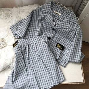 Blue suit two piece women's top short sleeve single breasted short shirt bottom skirt j#6