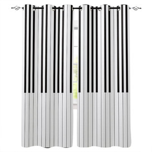 Piano Black And White Keyboard Music Modern Curtains Living Room Window Curtains For Home Bedroom Kitchen Drapes Blinds
