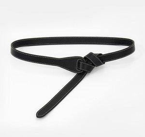 Cowskin Knotted Belts For Women Soft Real Leather Waistbands Party Dress Lady Thin Cowskin Long Cummerbunds Knot Diy Design Gift jllAIk