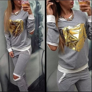 XUANSHOW Hot Gold Heart Hollow Out Lady Tracksuit Women Hoodies Sweatshirt +Pant Sportwear Costumes Track suit 2 Piece Set Y200610