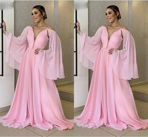 Sexy Cheap Simple Pink A-Line Prom Dresses V-Neck Long Sleeves Chiffon Floor Length Evening Gowns Formal Dress Party Wear vestidos