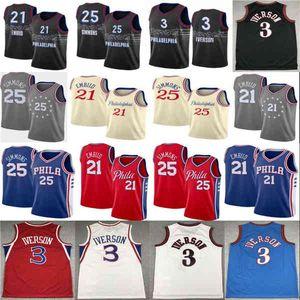 2021 New Joel 21 Embiid Mens Ben 25 Simmons Allen 3 Iverson Julius 6 Arves City Basketball Jersey