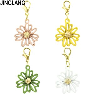 JINGLANG Alloy Enamel Flower DIY Charms Pendant Plants Charmfor Jewelry Making DIY Necklace Earring Finding Handmade