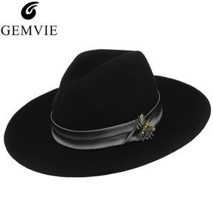 Hommes Femmes Fedoras Chapeaux Mignon Bee Pendentif Jazz Cap Gemvie Unisexe Classique Solide Laine Large Couleur Solide Couleur de Jazz Hat