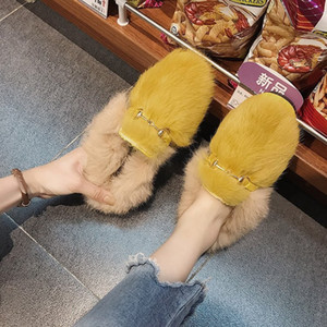 Hot Sale-Outside Casual Solid Flat With Fluffy Fur Slippers Women Metal Decoration Fashion Low Ladies Slides Closed Toe Winter Shoes
