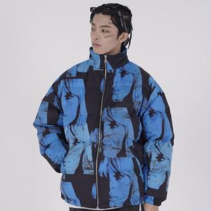 Parka Ceket Erkekler Hip Hop Streetwear Kız Baskılı Ceket WINDBREAKER Pamuk Kış Sıcak Yastıklı Ceket Coat Dış Giyim Kalın