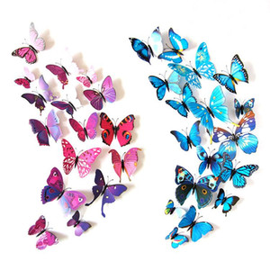 12pcs 3D Butterfly Wall Sticker PVC Simulation Stereoscopic Butterfly Mural Sticker Fridge Magnet Art Decal Kid Room Home Decor EWA3214