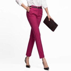 WMWMNU Femmes pantalons TRAVAILLER PORTE PASSING PASSANT DE PRESSION NOIRE NOI PLUS Taille Pantalon Slim Slim Pantalones élastiques Mujer LJ201103