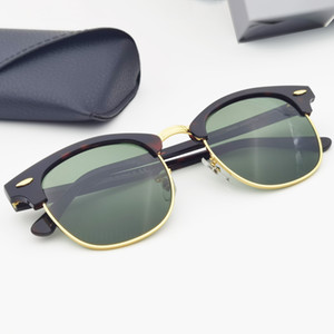 Stabile Qualität Sonnenbrille Männer Frauen Echte Glaslinsen Acetatrahmen Sonnenglas Linsen Sonnenbrille Oculos de Sol Ledertasche BOX