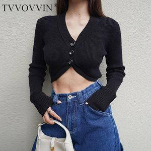 TVVOVVIN Autumn Winter Short Women Deep V Neck Curve Knit Cardigan Super Cropped Knit Top Sexy Sweater 7292