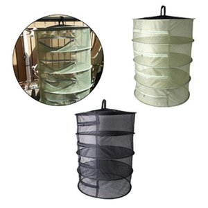 4 Layers Herb Drying Net Folding Fishing Net Hanging Basket Foldable Dry Rack Bag Mesh Dryer for Herbs Flowers Plants Buds T200602