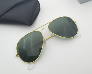 Lunettes de soleil classiques Sunglasses métalliques Verre Verre Lentille Men Femmes Vintage Design Protection UV400 Oculos de Sol Masculino Gafas 58mm 62mm avec boîtes d'accessoires