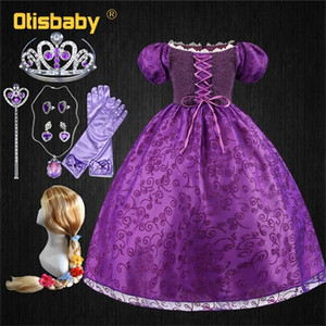Tangle Princess Costume With Rapunzel Wig Accessories Sofia Teenage Girls Clothing Gown Birthday Party Prom Kids Dress Q1118