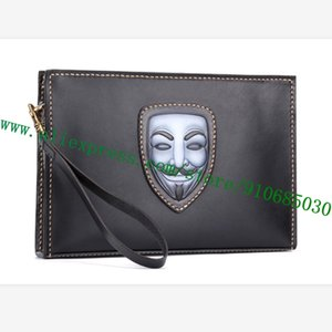 100% Hand-Painting Dyeing Handmade Italy Imported Calfskin Carving Engraving Men Zippy Clutch Shoulder Bag Pochette Ghost Mask
