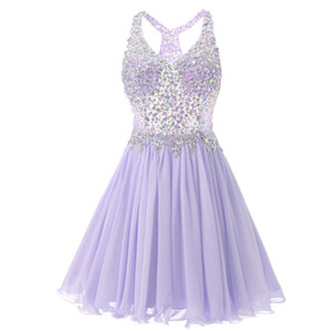 New Hot Short Length Evening Dresses Custom Made Tulle Homecoming Dress with Rhinestones Cheap Prom Gowns