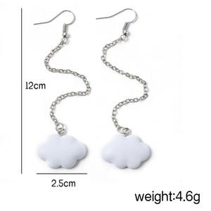 Women's Korean Fashion Cute Simple Style White Hanging Blank Cloud Pendant Earrings Chain Simple Ladies Ear Jewelry 2020 New sqcCBd