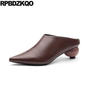 chunky shoes novelty mules slipper 2020 spring fashion women pumps special brown medium heels plus size 4 34 pointed toe sandals
