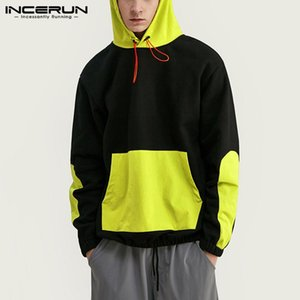 Men's Hoodies & Sweatshirts INCERUN Men Patchwork Hooded Pockets Casual Long Sleeve Streetwear Workout Leisure Fashion Pullovers
