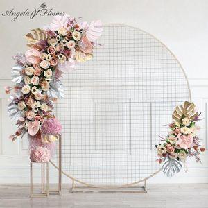 Novo Caseiro Lua Lua Arranjo de Flores Arco do Casamento Decoração Artificial Rose Rose Flower Row Fashion Stage Adereços Seja personalizado