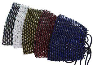 US-Großhandel Mode Net Gesichtsmaske mit Regenbogen Diamanten Multiple Farben Nicht schützende 12pc / Packung