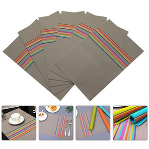 6Pcs Home Placemats Heat Insulation PVC Placemat Durable Anti Skid Table Mats For Home Kitchen