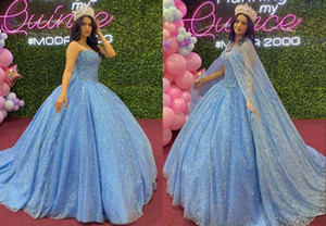 Stunning Light Sky Blue Sequined BIG Shawl Ball Gown Quinceanera Dresses Sweetheart Crystal Rhinestones Sweet 15 16 Dress Vestidos 15 Anos