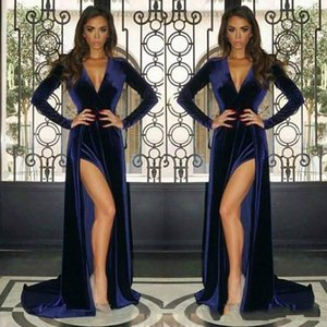 New Long Sleeves Evening Dresses Split Sheath V Neck Maternity Dress Baby Shower Party Gowns Pregnant Prom Dresses Sexy 2020 Vintage