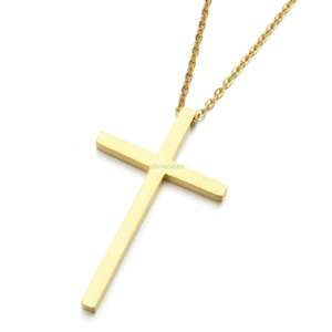 Simple cross pendant necklaces Stainless steel Cross necklace chains women men fashion jewelry will and sandy gift