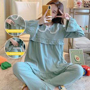 100% Pamuk Annelik Hemşirelik Pijama Gevşek Emzirme Gecelik Giysileri Hamile Kadınlar Için Gebelik Pijama Lounge LJ201120 Suits