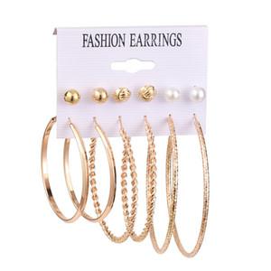 6 Pairs set Hoop Earrings For Women Vintage Gold Mix Pearl Stud Round Circle Earring Set for Girls Pearl Earrings