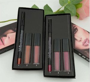 Sale stock limitée !!! Chaud Maquillage Brand Beauty 3in1 Lèvres Set 2pcs Liquide Lipstick + 1PC LIPLINER HAUTE QUALITÉ
