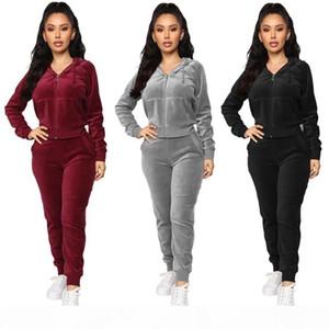 Women velvet hoodies pants 2 piece set fall winter clothing warm tracksuit jacket leggings outfits running jogging suit outwear coat 1769