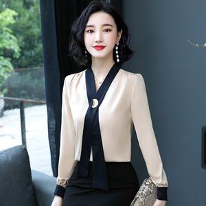 Women's Shirt Long Sleeve Blouse Spring Autumn Tie Shirt OL Fashion Elegnt Ladies Business Blouse M L XL 2XL 3XL