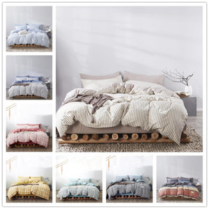 Moda Classic Grid Negro Ropa de cama Doble Reina King Ropa de cama Soft Duvet Funda Funda de almohada Hoja plana para adultos