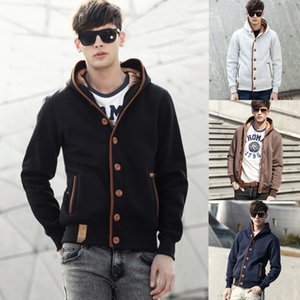 Mens Casual Button Hooides 2020 Brand New Men Clothing Male Casual Solid Sweatshirts Hooded Jacket Men Streetwear Fashion HoodieX1121