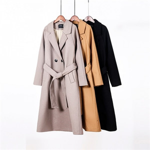 toppies 2020 Fall women long coat jacket 50% wool ladies double breasted outwear Q1119