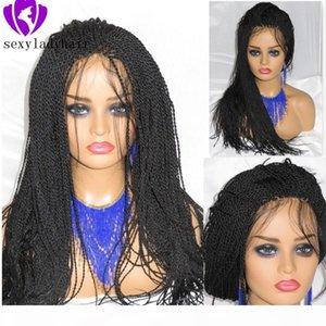 Perruque de la dentelle synthétique Full micro tressée Perruque avant pour femmes noires Afro-américain tressé Havana Twist Twist Dentelle Perruque avec cheveux