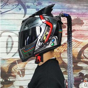 Motorcycle helmet locomotive racing full helmet personality full-covered fashion knight helmet windproof and rainproof men and women