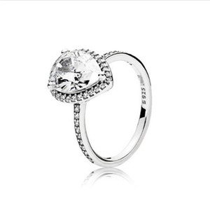 Real 925 Sterling Silver Tear drop CZ Diamond RING with LOGO and Original box Fit Pandora Wedding Ring Engagement Jewelry 56 M2