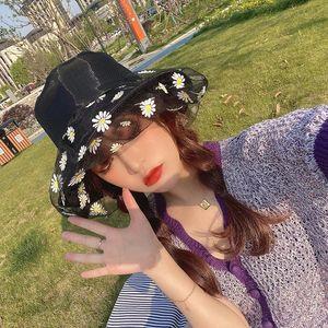 High Top Snapback Fashion Daisy Protection Sun Cap Anti-UV Buckets Hat Women Transparent Lace Flower Beach Panama Hats Caps