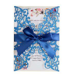 Invitaciones de boda del corte del láser del papel del brillo Personalizado Tarjeta de invitación de la boda con la cinta y los invitaciones del partido del sobre