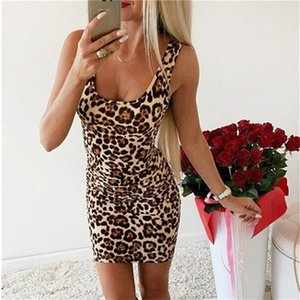 Sexy Leopard Print Short Dress Clothes For Women 2020 Summer Dress Slip Holiday Beach Party Night Club Ladies Clothes